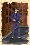 Rétro homme avec l'arme à feu Image libre de droits