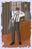Rétro homme d'affaires dans le bureau Images libres de droits
