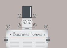 Rétros informations commerciales de lecture d'homme d'affaires Photo stock