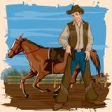 Rétro homme dans le ranch de cheval Photo libre de droits