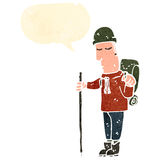 rétro homme de camping de bande dessinée illustration stock