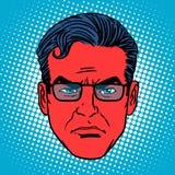 Rétro homme de visage d'émotion d'Emoji de diable illustration de vecteur