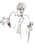 Rétro homme esquissé Illustration de cru Image stock