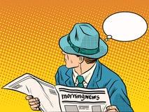 Rétro homme lisant les actualités de matin illustration libre de droits
