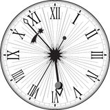 Rétro horloge avec Roman Dial Photos stock