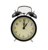 Rétro horloge d'alarme affichant une heure Photos stock