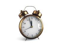 Rétro horloge d'alarme d'isolement sur le blanc Photographie stock