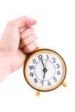 Rétro horloge d'isolement sur le fond blanc Photographie stock libre de droits