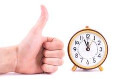 Rétro horloge d'isolement sur le fond blanc Image stock
