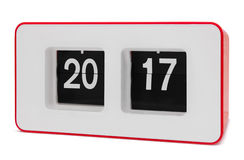 Rétro horloge de secousse 2017 ans, chemin de coupure Image stock