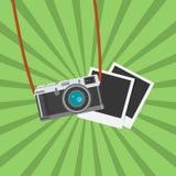 Rétro icône d'appareil-photo de photo Illustration plate de vecteur de conception Images stock
