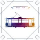Rétro icône de voiture de tram illustration stock