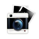 Rétro icône et photos d'appareil-photo d'isolement sur le blanc illustration stock
