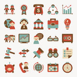 Rétro icône plate d'affaires Photos stock