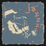 Rétro illustration avec le saxophoniste Photo stock