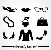 Rétro illustration d'accessoires de dame Images stock