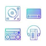 Rétro illustration d'icône d'ensemble de lecteur de musique de vintage Image stock