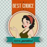 Rétro illustration d'une belle femme et d'un meilleur message bien choisi Photo stock