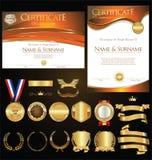 Rétro illustration de calibre de certificat ou de diplôme Images libres de droits