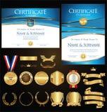 Rétro illustration de calibre de certificat ou de diplôme Images stock