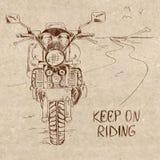 Rétro illustration de croquis avec la motocyclette illustration de vecteur