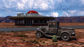 Rétro illustration de Route 66 de wagon-restaurant image stock