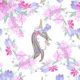 Rétro illustration de style avec les fleurs et l'animal Photos stock