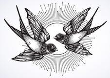 Rétro illustration de style de beau cru de deux oiseaux volants d'hirondelle Illustration tirée par la main de vecteur d'isolemen illustration de vecteur