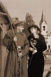 Rétro illustration de type avec le femme et le soldat Photos stock