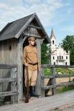 Rétro illustration de type avec le soldat à la sentinelle. image stock