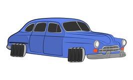 Rétro illustration volante de dessin de vecteur de voiture illustration libre de droits