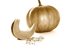 Rétro image de sépia de thanksgiving avec la coupe et les graines de potiron d'isolement Photos stock