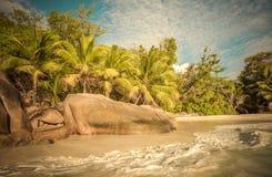 Rétro image de style de plage tropicale d'île Photos stock