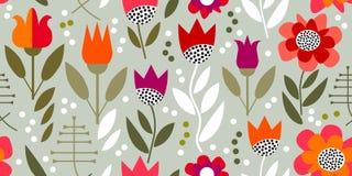 Rétro impression florale avec les éléments géométriques Photos libres de droits