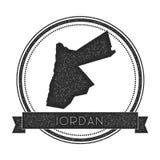 Rétro insigne affligé de la Jordanie avec la carte Image stock