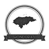 Rétro insigne affligé du Honduras avec la carte Image stock