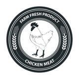 Rétro insigne dénommé de vecteur avec le symbole de poulet Insigne d'aliment biologique illustration stock