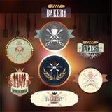 Rétro insignes et étiquettes de boulangerie de cru Image stock