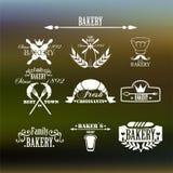 Rétro insignes et étiquettes de boulangerie de cru Images stock