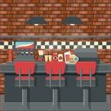 Rétro intérieur de wagon-restaurant illustration libre de droits