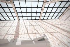 Rétro intérieur ensoleillé moderne de grenier sans personnes Image libre de droits
