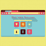 Rétro interface de web browser de vintage de vecteur illustration stock