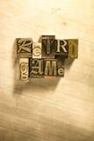 Rétro jeu - signe de lettrage d'impression typographique en métal Photo stock