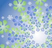 Rétro kaléidoscope floral bleu Image stock