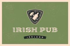 Rétro label dénommé classique pour le bar irlandais Photo stock