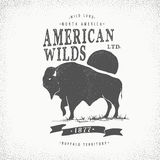 Rétro label de Buffalo Photo stock