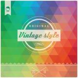 Rétro label de hippie de vintage, typographie, dessin géométrique Images libres de droits