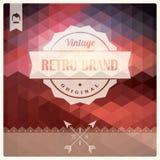 Rétro label de hippie de vintage, typographie, dessin géométrique Photo stock