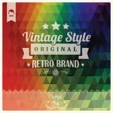 Rétro label de hippie de vintage, typographie, dessin géométrique Images stock