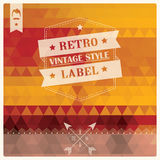 Rétro label de hippie de vintage, typographie, dessin géométrique Image stock